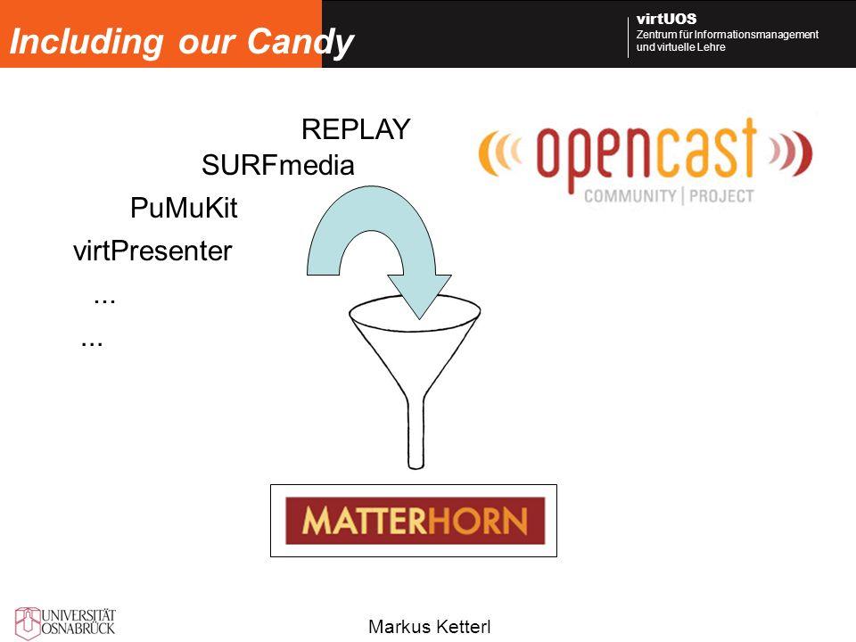 Markus Ketterl virtUOS Zentrum für Informationsmanagement und virtuelle Lehre Including our Candy virtPresenter PuMuKit REPLAY SURFmedia...