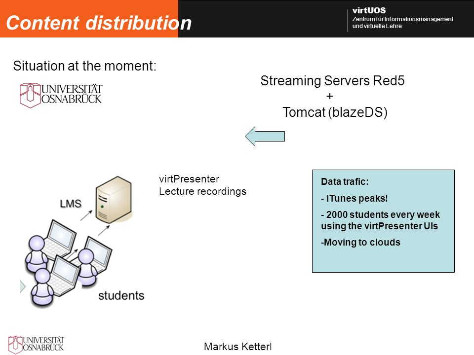 Markus Ketterl virtUOS Zentrum für Informationsmanagement und virtuelle Lehre Content distribution virtPresenter Lecture recordings Streaming Servers Red5 + Tomcat (blazeDS) Data trafic: - iTunes peaks.