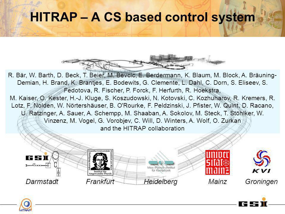 HITRAP – A CS based control system R. Bär, W. Barth, D.