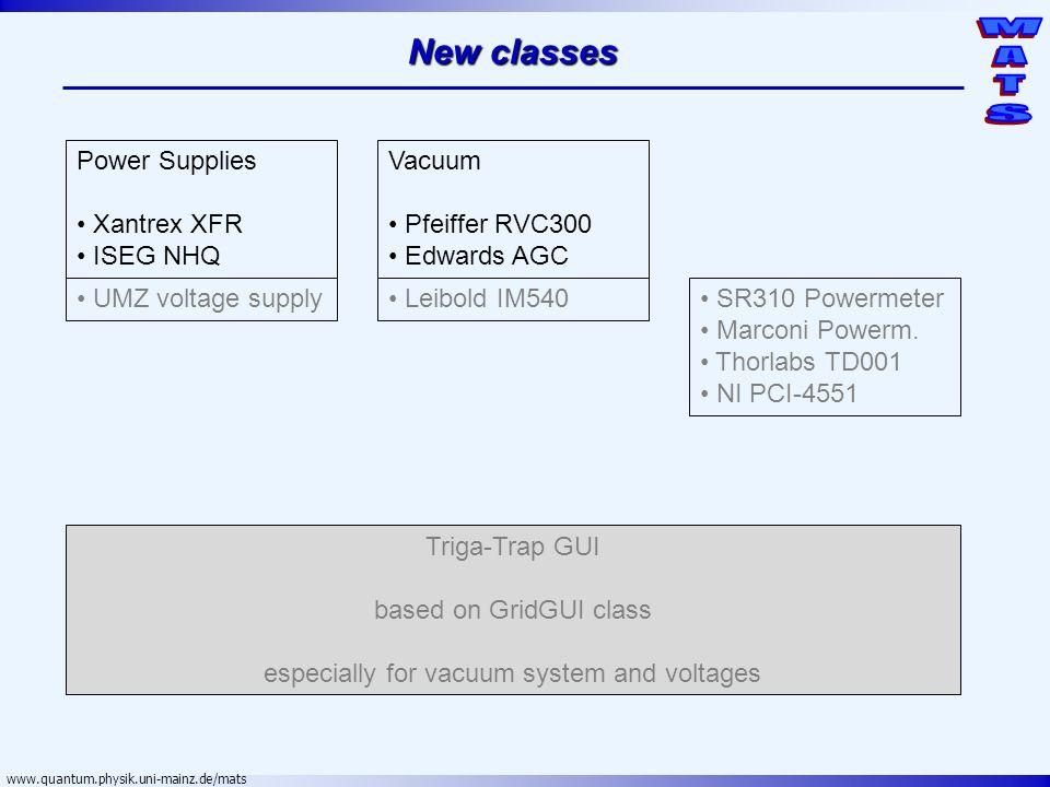 www.quantum.physik.uni-mainz.de/mats New classes Power Supplies Xantrex XFR ISEG NHQ Vacuum Pfeiffer RVC300 Edwards AGC UMZ voltage supply Leibold IM5