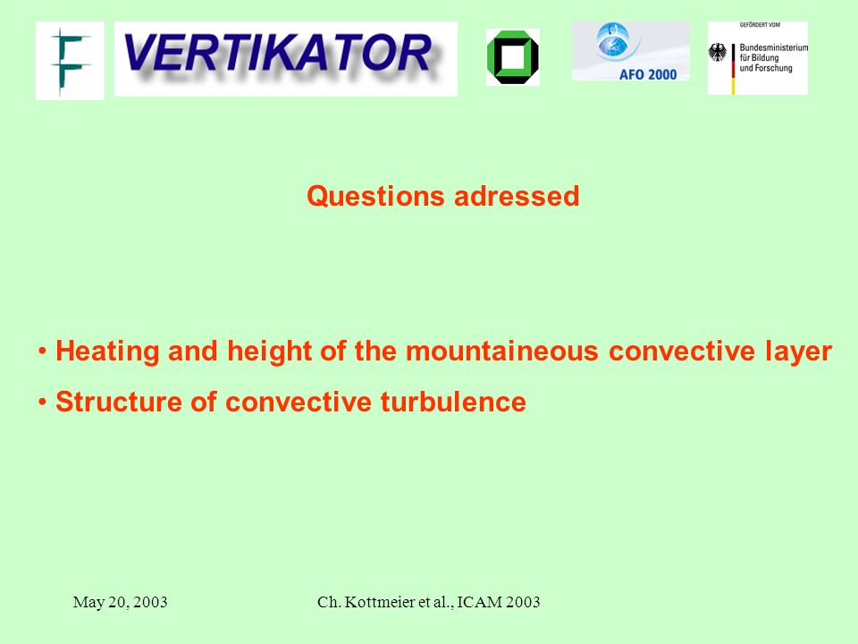 May 20, 2003Ch. Kottmeier et al., ICAM 2003 Questions adressed Heating and height of the mountaineous convective layer Structure of convective turbule