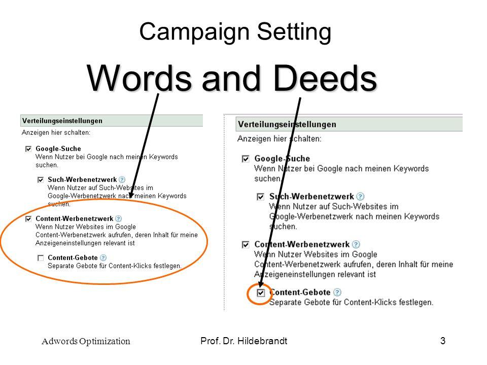 Prof. Dr. Hildebrandt4 Keyword Selection Words and Deeds Adwords Optimization