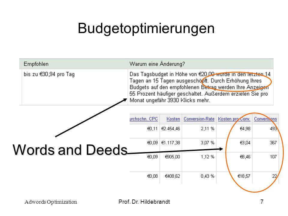 Prof. Dr. Hildebrandt8 Whats wrong? Adwords Optimization