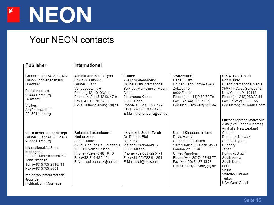 Seite 15 Your NEON contacts InternationalPublisher U.S.A.