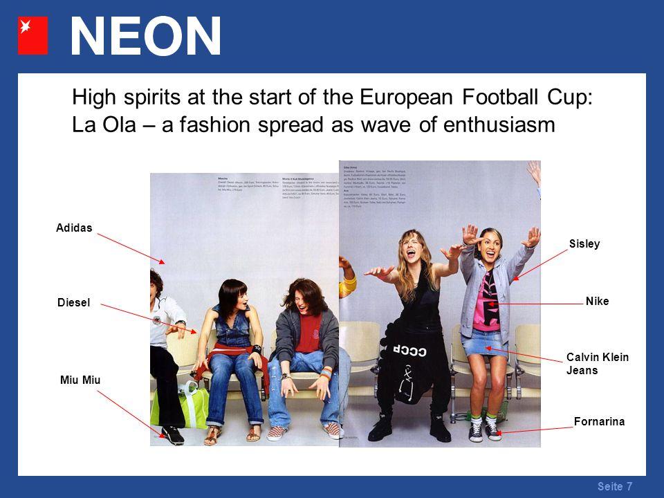 Seite 7 High spirits at the start of the European Football Cup: La Ola – a fashion spread as wave of enthusiasm Adidas Calvin Klein Jeans Sisley Nike Fornarina Diesel Miu