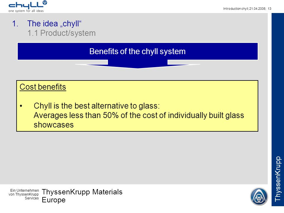 Ein Unternehmen von ThyssenKrupp Services ThyssenKrupp Materials Europe ThyssenKrupp Introduction chyll; 21.04.2006; 13 Benefits of the chyll system C