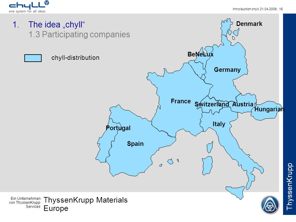 Ein Unternehmen von ThyssenKrupp Services ThyssenKrupp Materials Europe ThyssenKrupp Introduction chyll; 21.04.2006; 16 chyll-distribution Switzerland