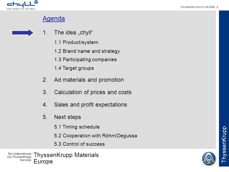 Ein Unternehmen von ThyssenKrupp Services ThyssenKrupp Materials Europe ThyssenKrupp Introduction chyll; 21.04.2006; 2 Agenda 1.The idea chyll 1.1 Pro