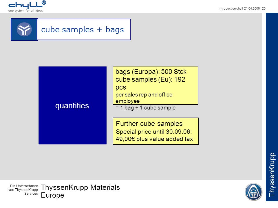 Ein Unternehmen von ThyssenKrupp Services ThyssenKrupp Materials Europe ThyssenKrupp Introduction chyll; 21.04.2006; 23 cube samples + bags bags (Euro