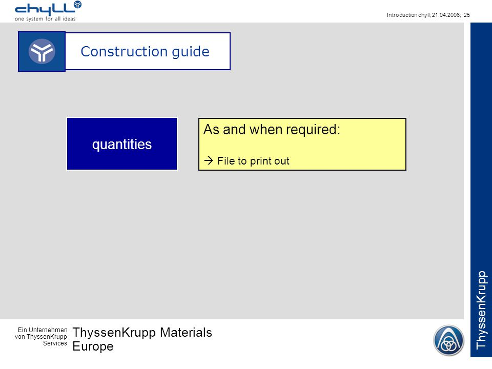 Ein Unternehmen von ThyssenKrupp Services ThyssenKrupp Materials Europe ThyssenKrupp Introduction chyll; 21.04.2006; 25 Construction guide As and when