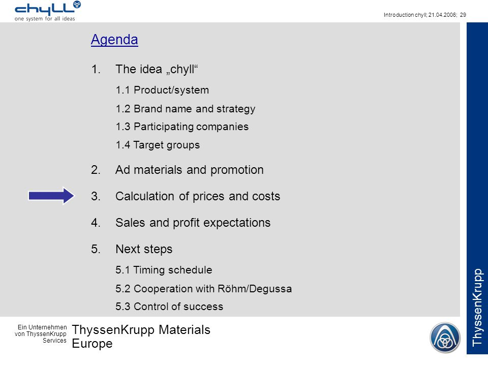Ein Unternehmen von ThyssenKrupp Services ThyssenKrupp Materials Europe ThyssenKrupp Introduction chyll; 21.04.2006; 29 Agenda 1.The idea chyll 1.1 Pr