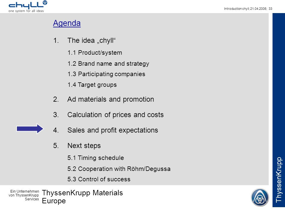 Ein Unternehmen von ThyssenKrupp Services ThyssenKrupp Materials Europe ThyssenKrupp Introduction chyll; 21.04.2006; 33 Agenda 1.The idea chyll 1.1 Pr