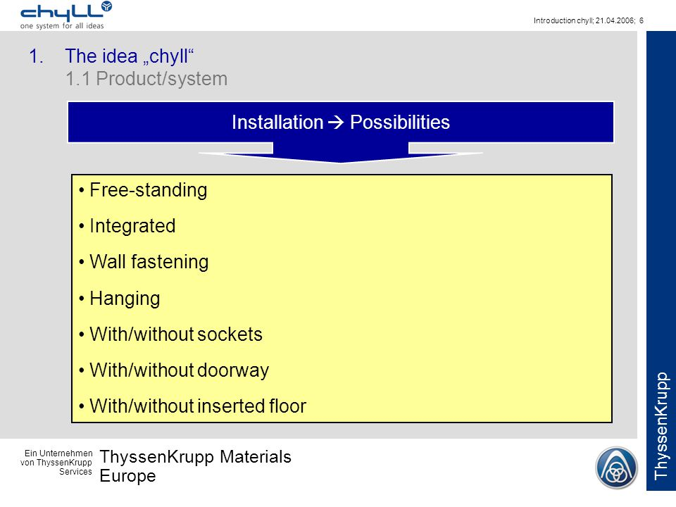 Ein Unternehmen von ThyssenKrupp Services ThyssenKrupp Materials Europe ThyssenKrupp Introduction chyll; 21.04.2006; 6 Installation Possibilities Free