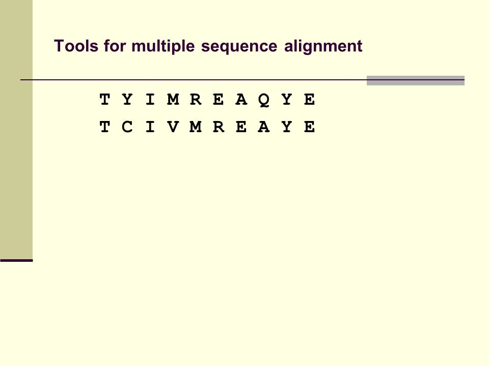 Tools for multiple sequence alignment T Y I M R E A Q Y E T C I V M R E A Y E