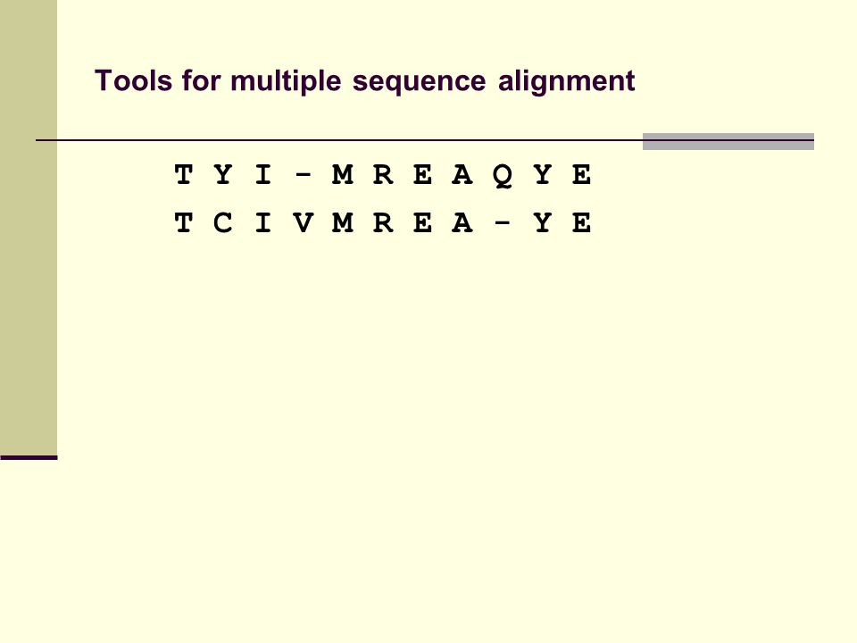 Tools for multiple sequence alignment T Y I - M R E A Q Y E T C I V M R E A - Y E