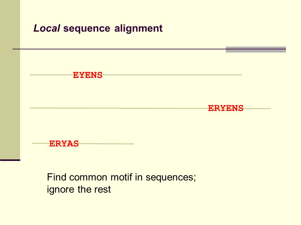 Local sequence alignment Find common motif in sequences; ignore the rest EYENS ERYENS ERYAS