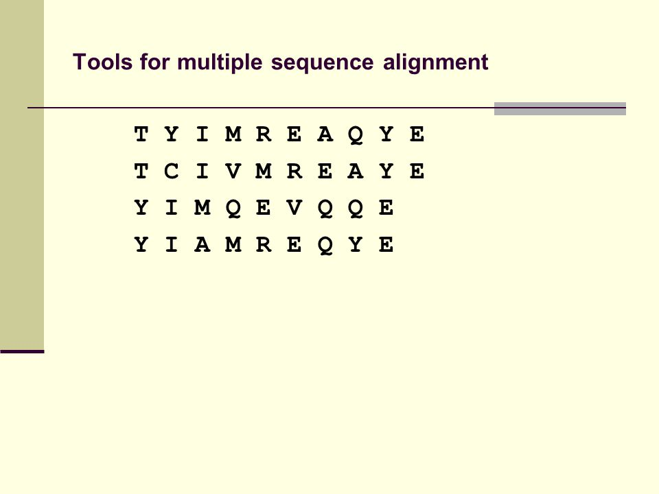 Tools for multiple sequence alignment T Y I M R E A Q Y E T C I V M R E A Y E Y I M Q E V Q Q E Y I A M R E Q Y E