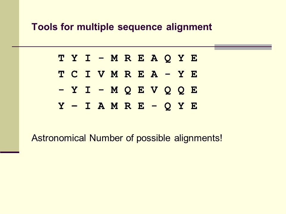 Tools for multiple sequence alignment T Y I - M R E A Q Y E T C I V M R E A - Y E - Y I - M Q E V Q Q E Y – I A M R E - Q Y E Astronomical Number of possible alignments!