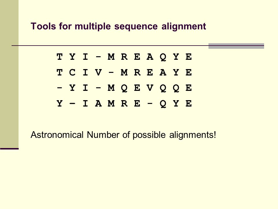 Tools for multiple sequence alignment T Y I - M R E A Q Y E T C I V - M R E A Y E - Y I - M Q E V Q Q E Y – I A M R E - Q Y E Astronomical Number of possible alignments!