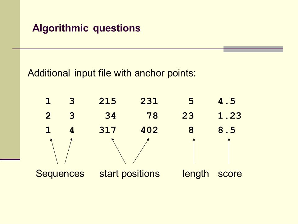 Additional input file with anchor points: 1 3 215 231 5 4.5 2 3 34 78 23 1.23 1 4 317 402 8 8.5 Sequences start positions length score Algorithmic questions
