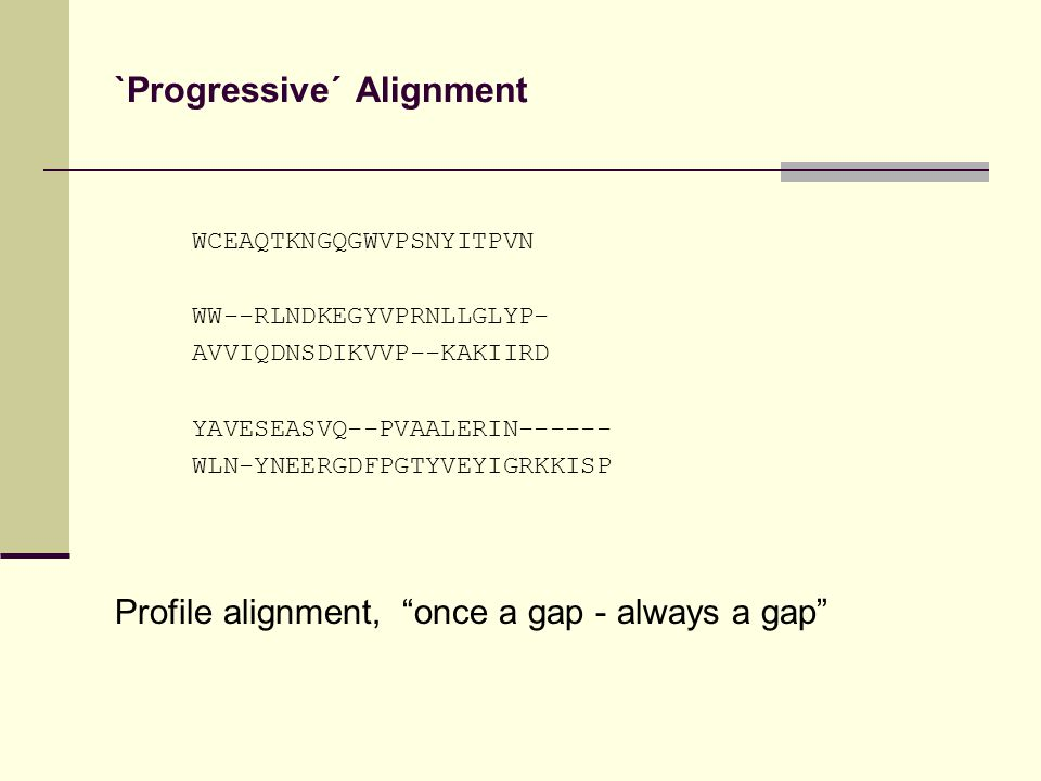 `Progressive´ Alignment WCEAQTKNGQGWVPSNYITPVN WW--RLNDKEGYVPRNLLGLYP- AVVIQDNSDIKVVP--KAKIIRD YAVESEASVQ--PVAALERIN------ WLN-YNEERGDFPGTYVEYIGRKKISP Profile alignment, once a gap - always a gap