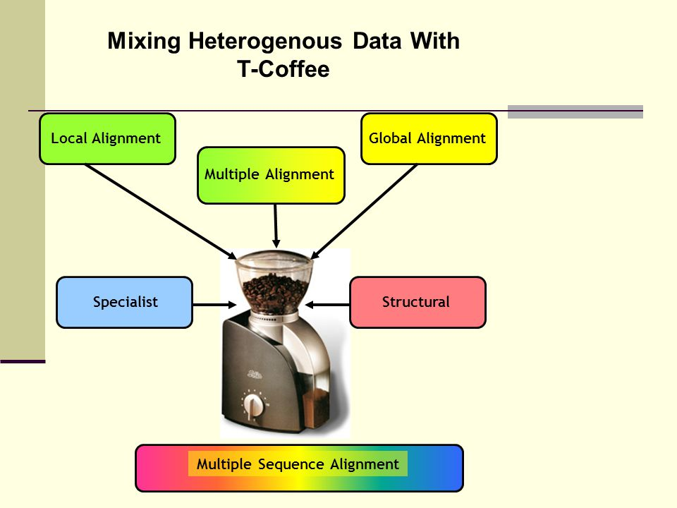 Mixing Heterogenous Data With T-Coffee Local AlignmentGlobal Alignment Multiple Sequence Alignment Multiple Alignment StructuralSpecialist