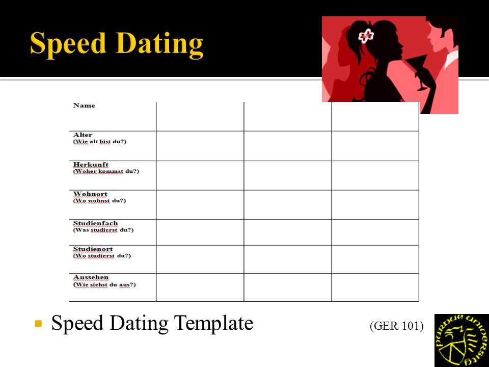 Speed Dating Template (GER 101)