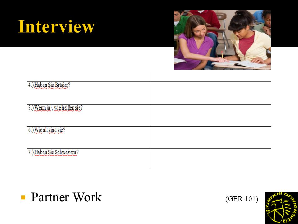 Partner Work (GER 101)