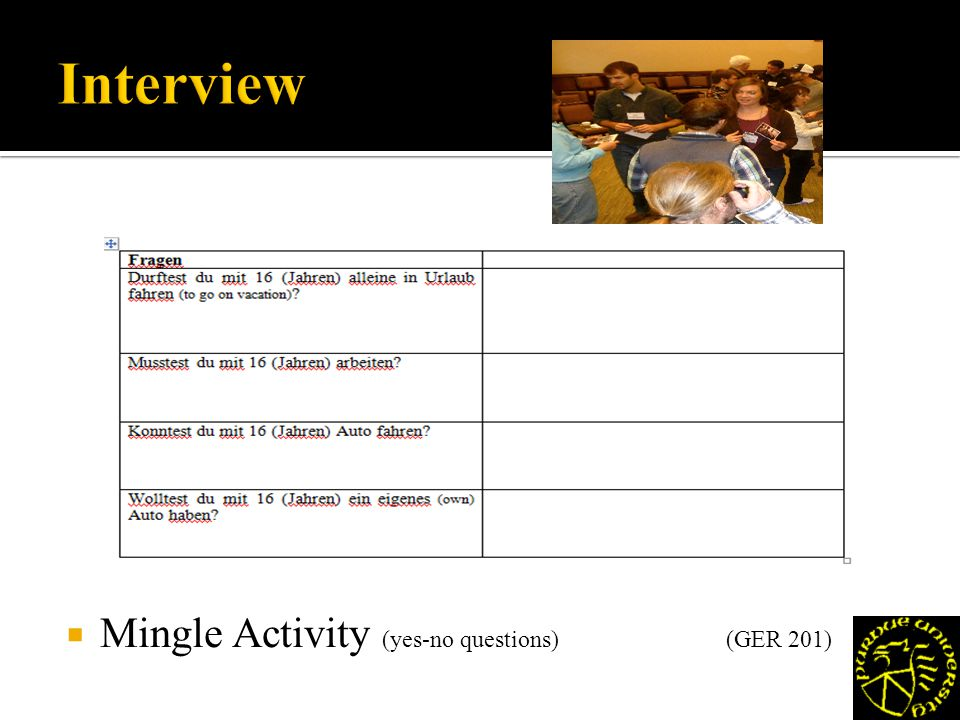 Mingle Activity (yes-no questions)(GER 201)