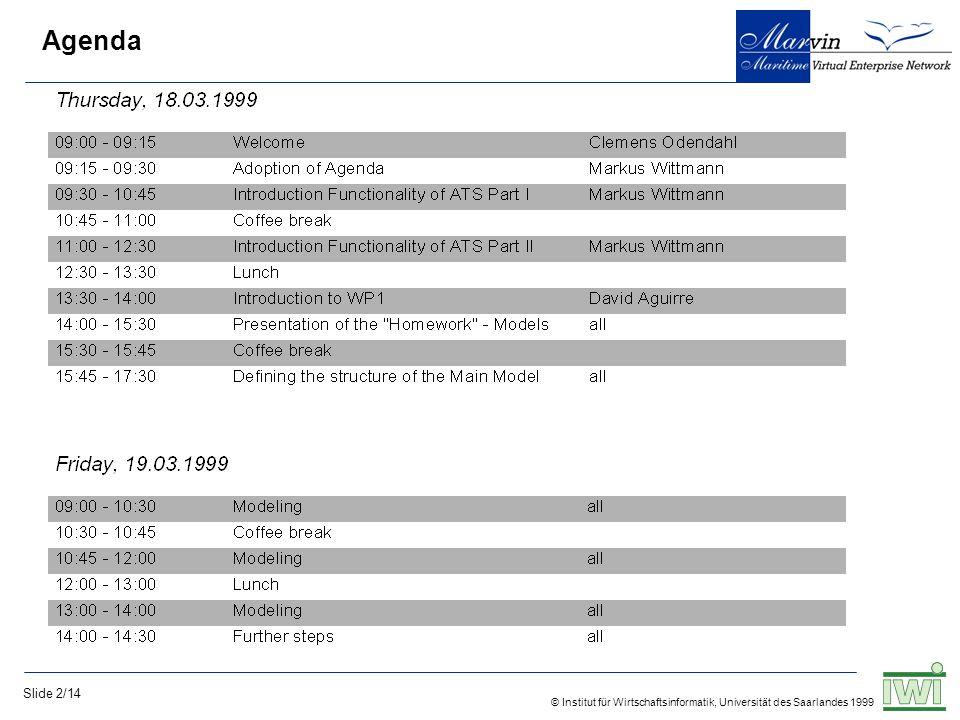 © Institut für Wirtschaftsinformatik, Universität des Saarlandes 1999 Slide 2/14 Agenda