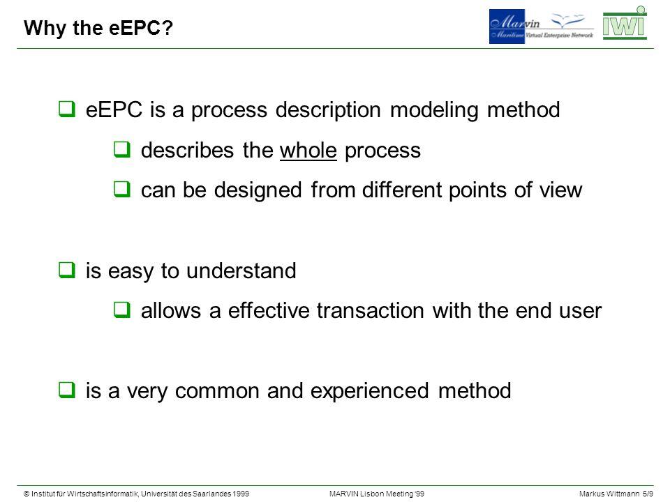 © Institut für Wirtschaftsinformatik, Universität des Saarlandes 1999Markus Wittmann 5/9 MARVIN Lisbon Meeting 99 Why the eEPC? qeEPC is a process des