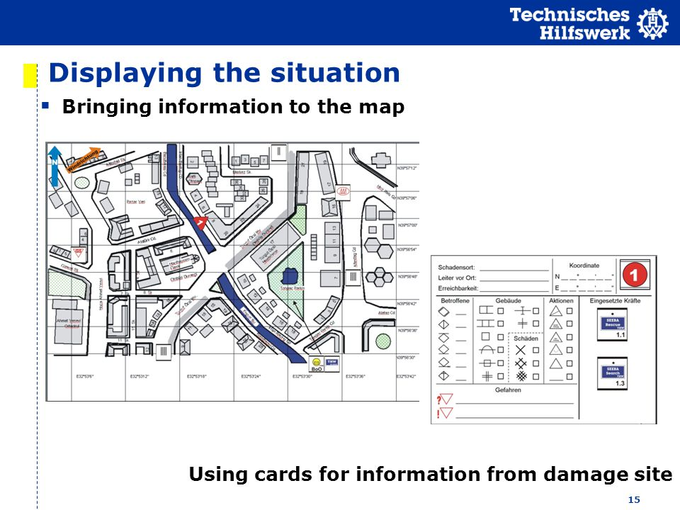 15 Displaying the situation Bringing information to the map Using cards for information from damage site