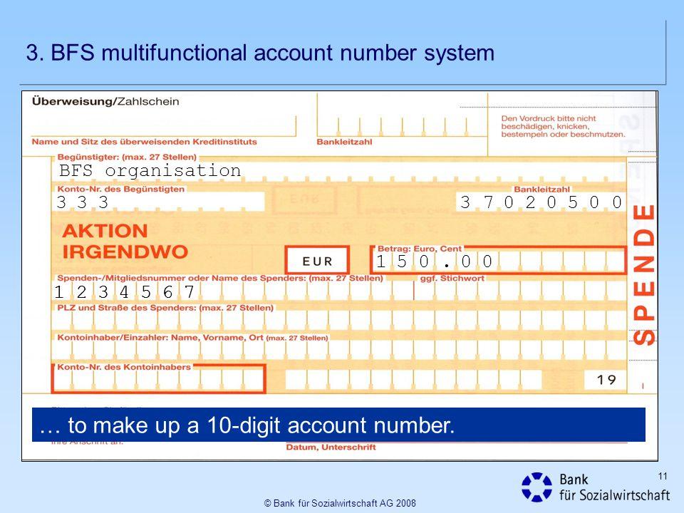 11 © Bank für Sozialwirtschaft AG 2008 BFS organisation 37020500333 1234567 … to make up a 10-digit account number. 1234567 150. 00 3. BFS multifuncti
