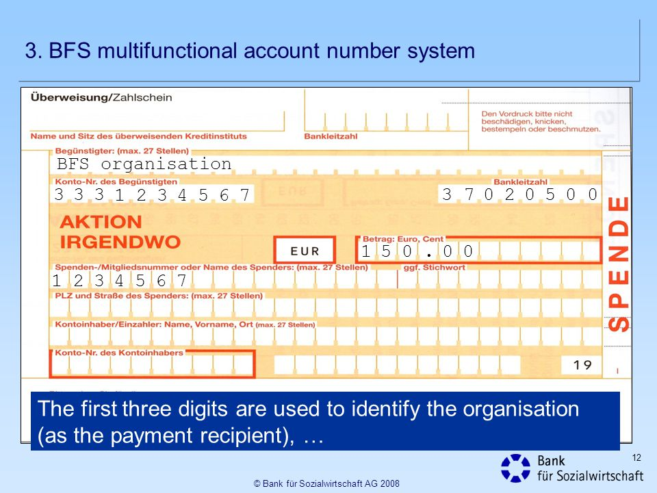 12 © Bank für Sozialwirtschaft AG 2008 BFS organisation 37020500333 1234567 The first three digits are used to identify the organisation (as the payment recipient), … 1234567 150.
