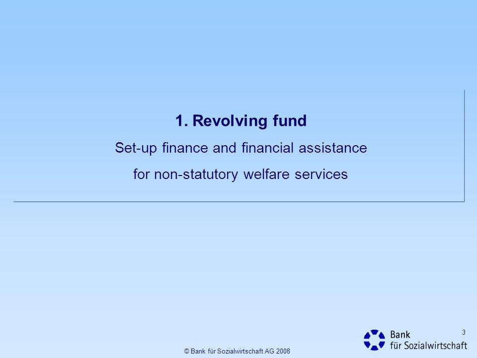 3 1. Revolving fund Set-up finance and financial assistance for non-statutory welfare services © Bank für Sozialwirtschaft AG 2008