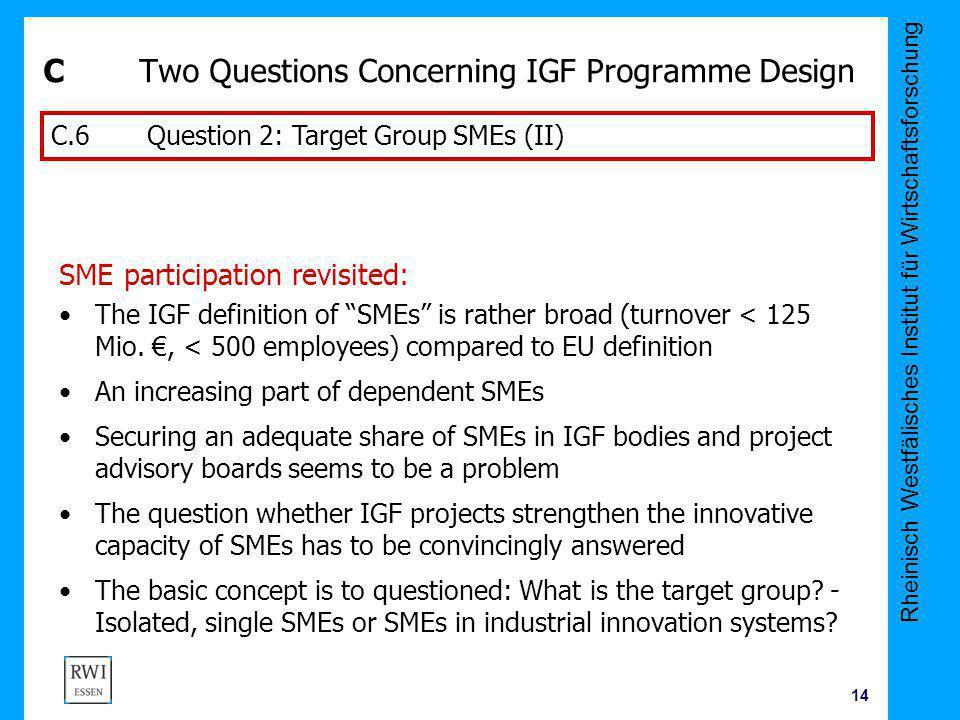 Rheinisch Westfälisches Institut für Wirtschaftsforschung 14 CTwo Questions Concerning IGF Programme Design SME participation revisited: The IGF defin