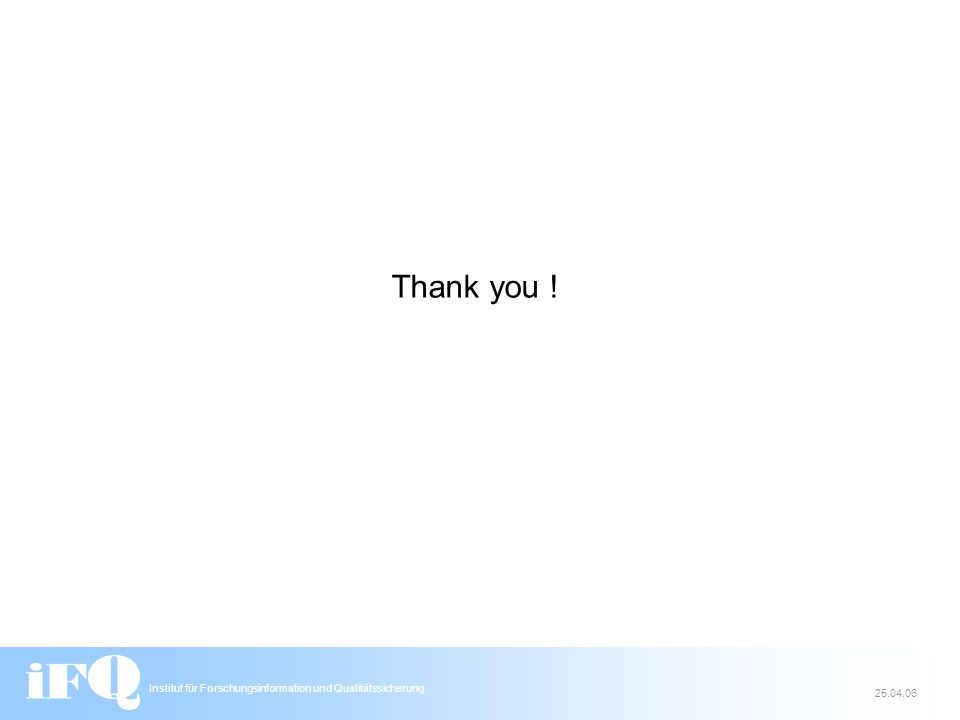 Institut für Forschungsinformation und Qualitätssicherung 25.04.06 Thank you !
