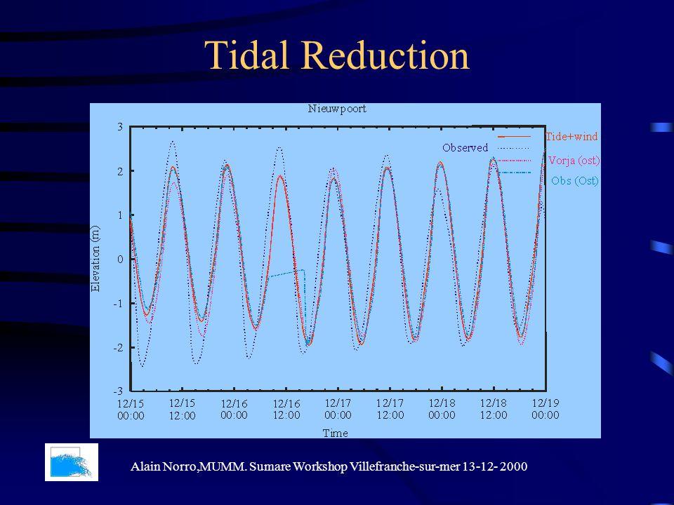 Tidal Reduction Alain Norro,MUMM. Sumare Workshop Villefranche-sur-mer 13-12- 2000