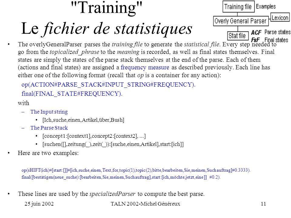 25 juin 2002TALN 2002-Michel Généreux11 Training Le fichier de statistiques The overlyGeneralParser parses the training file to generate the statistical file.