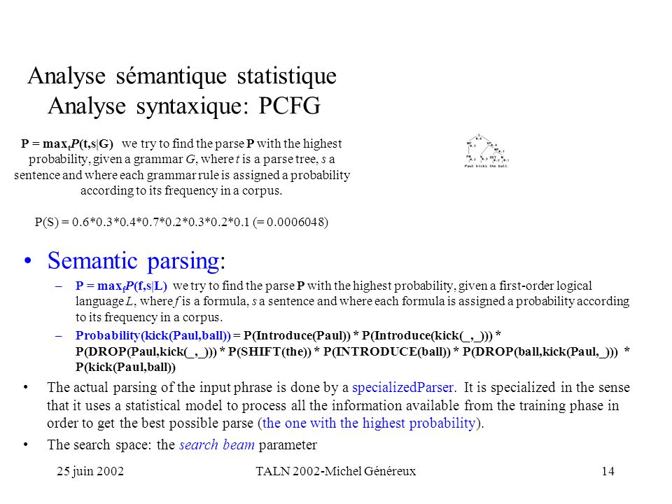 25 juin 2002TALN 2002-Michel Généreux14 Analyse sémantique statistique Analyse syntaxique: PCFG P = max t P(t,s|G) we try to find the parse P with the highest probability, given a grammar G, where t is a parse tree, s a sentence and where each grammar rule is assigned a probability according to its frequency in a corpus.