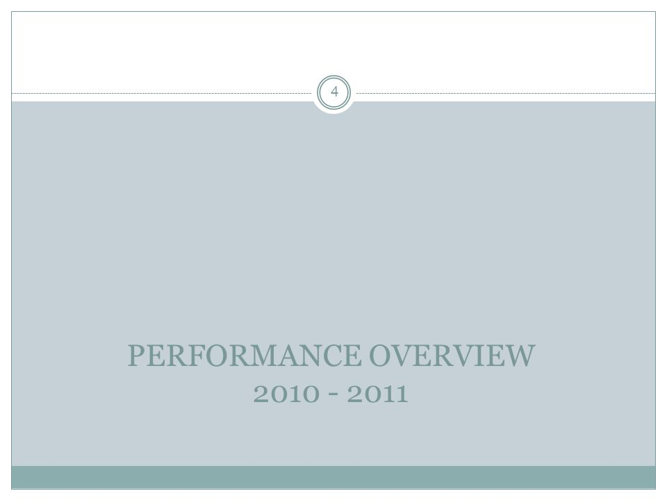 PERFORMANCE OVERVIEW 2010 - 2011 4