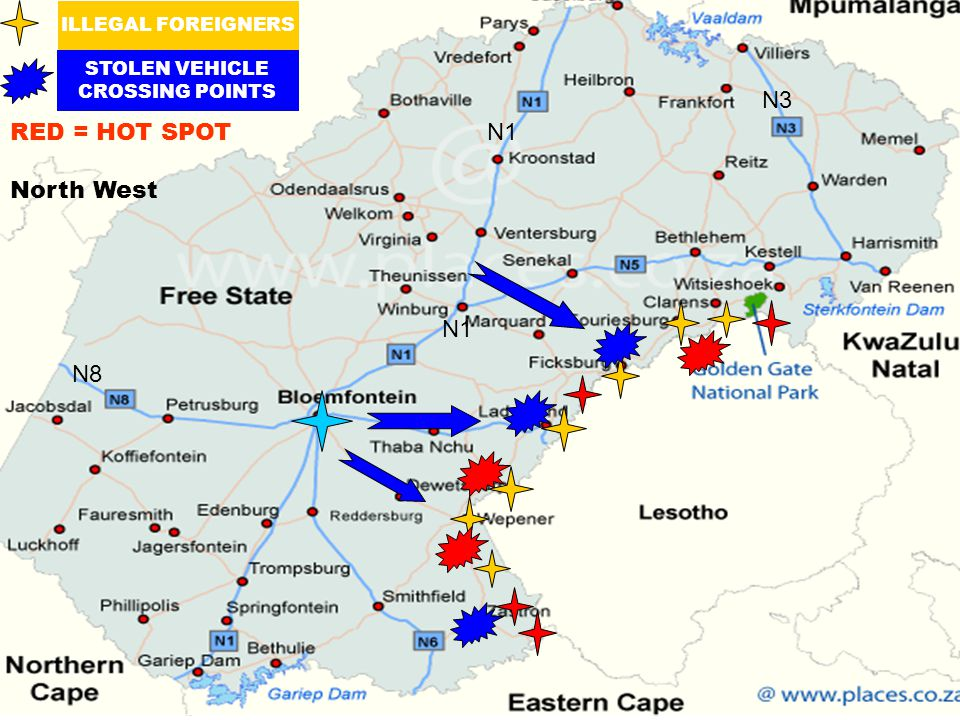 ILLEGAL FOREIGNERS STOLEN VEHICLE CROSSING POINTS RED = HOT SPOT N1 N8 N3 North West