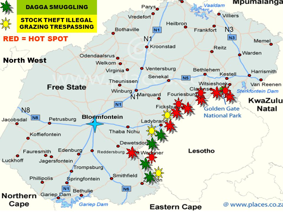 DAGGA SMUGGLING STOCK THEFT ILLEGAL GRAZING TRESPASSING North West N1 N8 N3 RED = HOT SPOT
