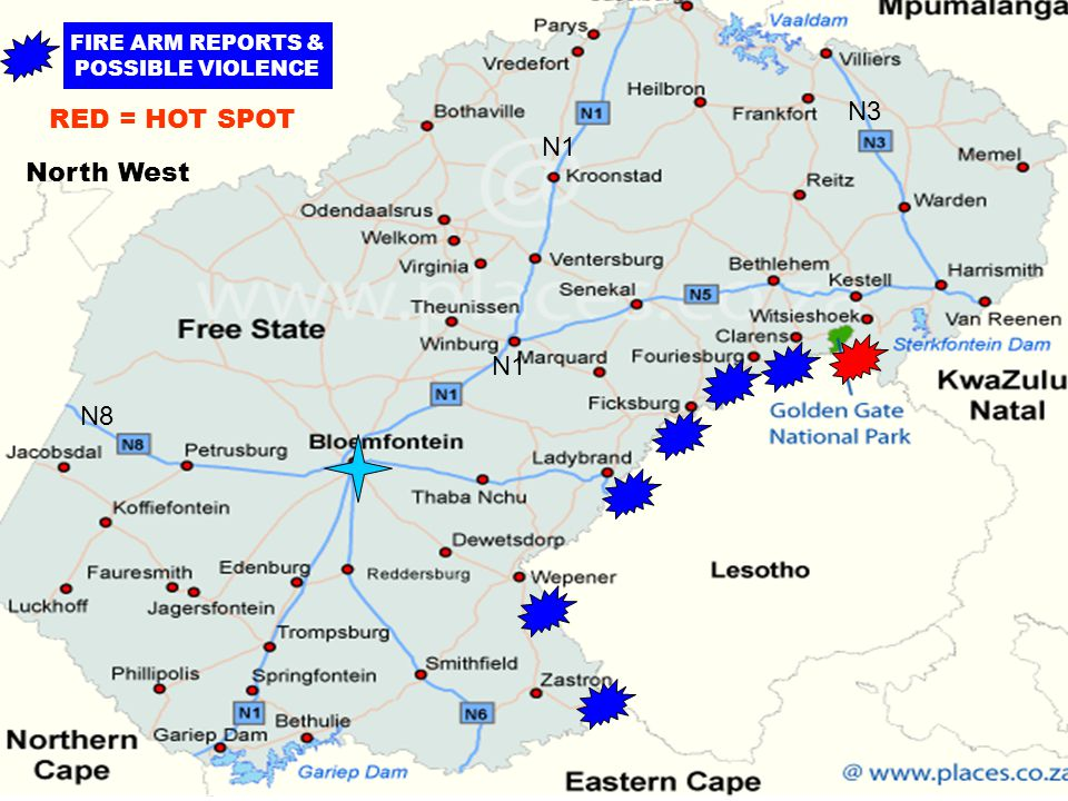 FIRE ARM REPORTS & POSSIBLE VIOLENCE N1 N8 N3 North West RED = HOT SPOT