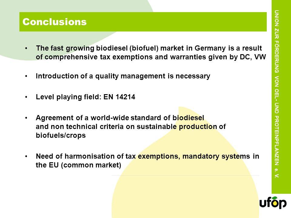 UNION ZUR FÖRDERUNG VON OEL- UND PROTEINPFLANZEN e. V. Conclusions The fast growing biodiesel (biofuel) market in Germany is a result of comprehensive