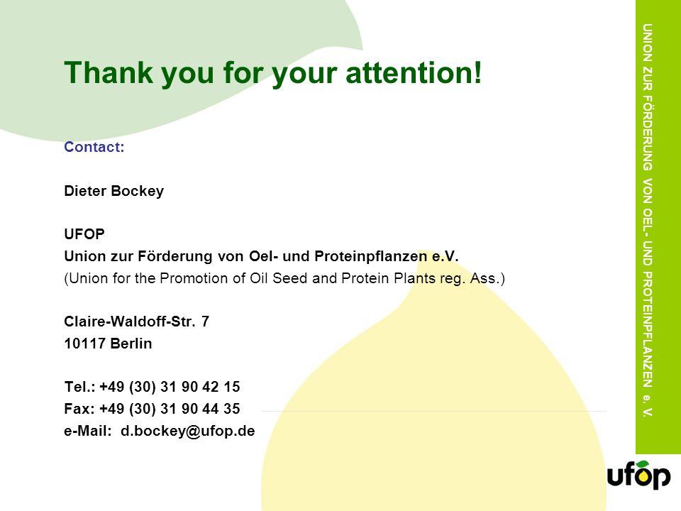 UNION ZUR FÖRDERUNG VON OEL- UND PROTEINPFLANZEN e. V. Thank you for your attention! Contact: Dieter Bockey UFOP Union zur Förderung von Oel- und Prot
