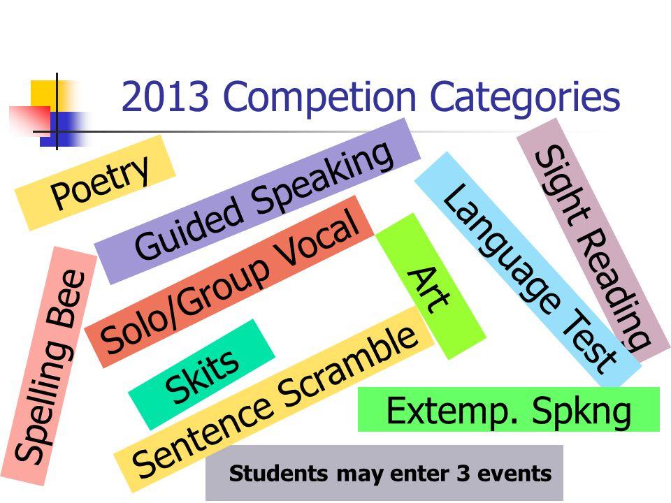 2013 Competion Categories P o e t r y S i g h t R e a d i n g S k i t s S o l o / G r o u p V o c a l A r t L a n g u a g e T e s t G u i d e d S p e