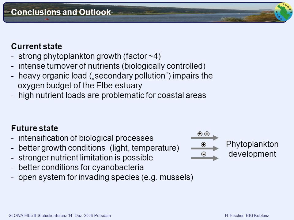 GLOWA-Elbe II Statuskonferenz 14. Dez. 2006 Potsdam H. Fischer, BfG Koblenz Conclusions and Outlook Current state - strong phytoplankton growth (facto