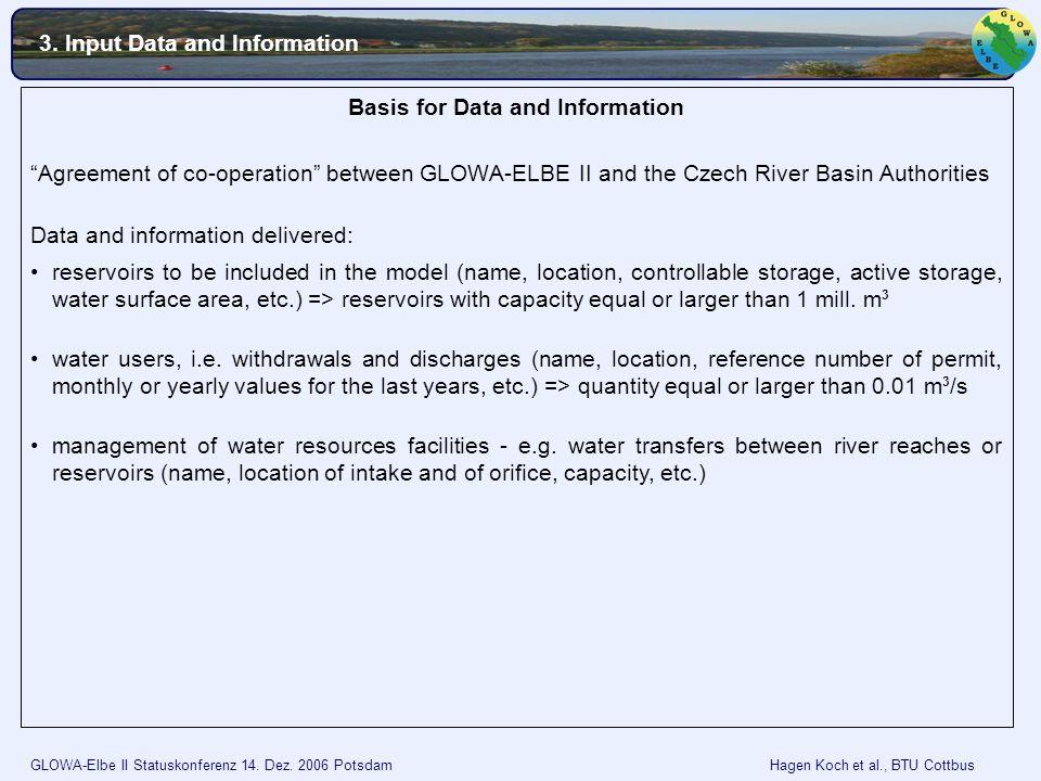 GLOWA-Elbe II Statuskonferenz 14. Dez. 2006 Potsdam Hagen Koch et al., BTU Cottbus Basis for Data and Information Agreement of co-operation between GL