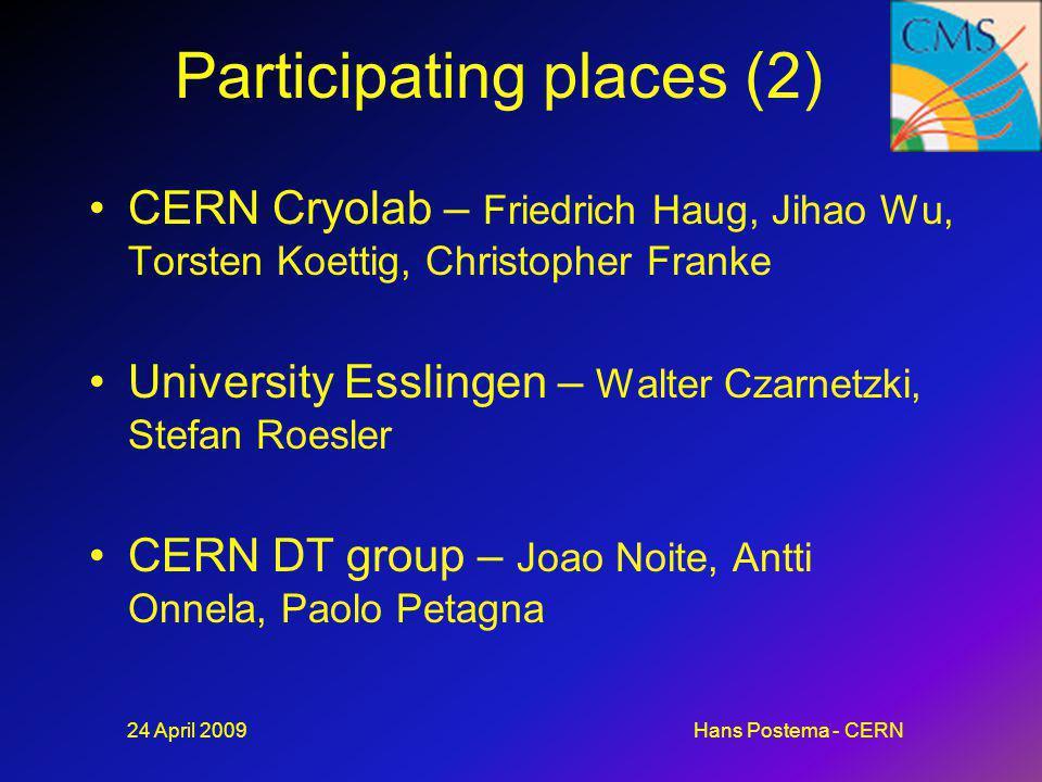 Participating places (2) CERN Cryolab – Friedrich Haug, Jihao Wu, Torsten Koettig, Christopher Franke University Esslingen – Walter Czarnetzki, Stefan